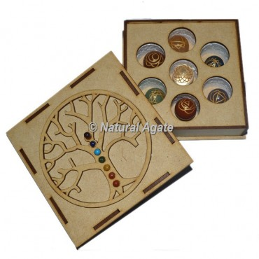 Engraved Chakra Ball Set with Chakra Stone Tree Of Life Gift Box