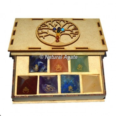 Engraved Sanskrit Pyramid Set with Chakra Stone Tree Of Life Gift Box