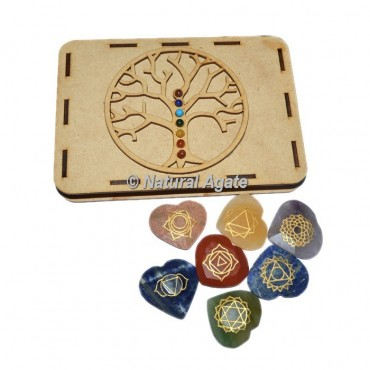 Faceted Chakra Heart Set with Chakra Stone Tree Of Life Gift Box