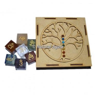 Engraved  Sanskrit Cube Set with Chakra Stone Tree Of Life Gift Box
