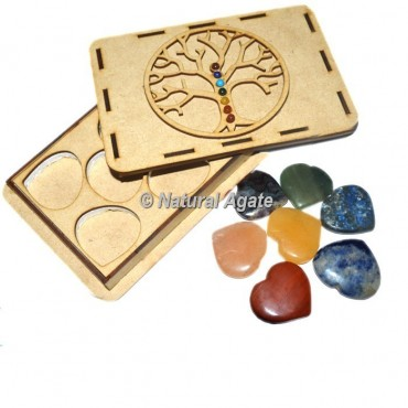 7 chakra Plain Heart Set with Chakra Stone Tree Of Life Gift Box