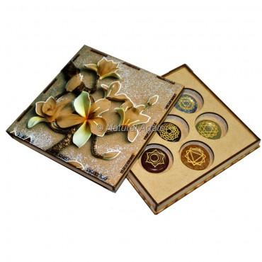 Seven Chakra Set with Flower Design Wood Gift Box