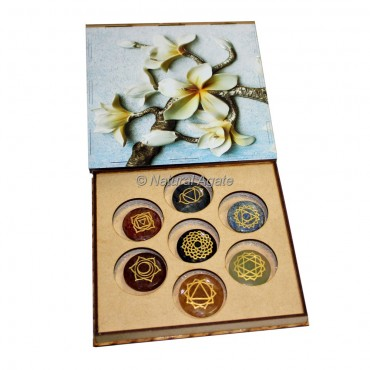 Seven Chakra Set with White Orchid Design Wood Gift Box