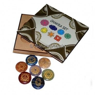 Chakra Symbols Engraved Set with Wood Gift Box