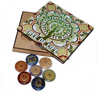 Seven Chakra Disc Set with Tree Of Life Printed Wood Gift Box