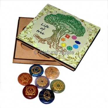 Chakra Disc Set with Tree Of Life Wood Gift Box