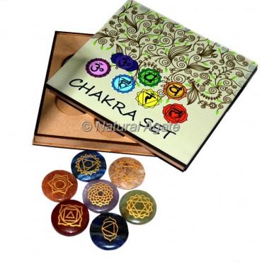 Engraved Chakra Symbols on Disc Set with Wood Gift Box