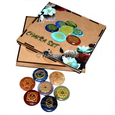 Flower Design on Wood Gift Box Chakra Set