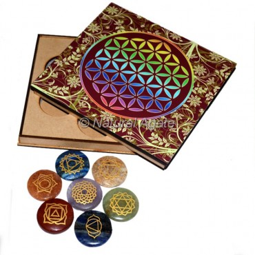 Engraved 7 Chakra Disc Set with Wood Gift Box