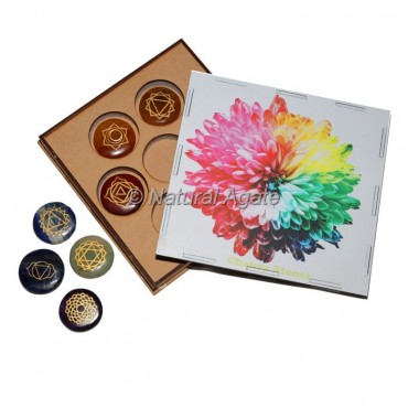 7 Chakra Set with Colorful Flower Design on Wood Gift Box