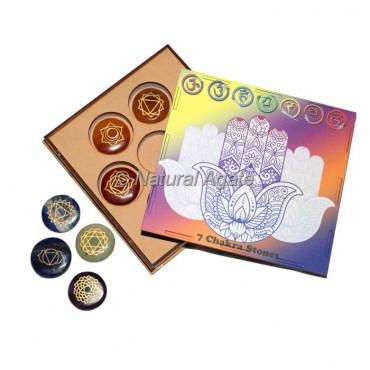 7 Chakra Set with Hamsa Design Wood Gift Box