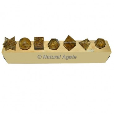 Yellow Jasper Orgonite Geometry Set