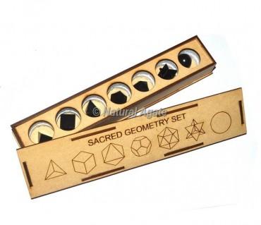 Black agate  Carved Geometry Set