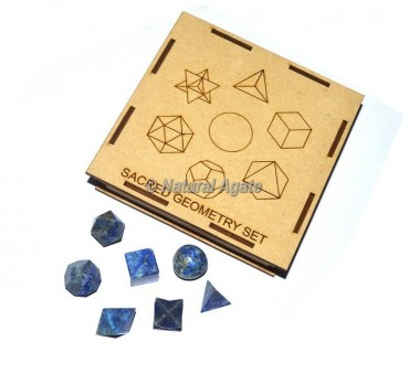 Lapis Lazuli Geometry Set With Square Gift Box