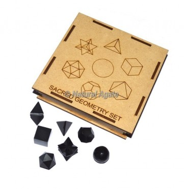 Black Agate Geometry Set With Square Gift Box