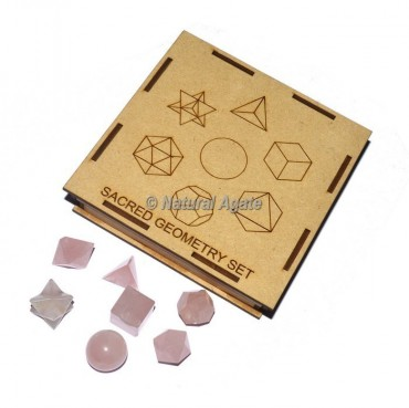 Rose Quartz Geometry Set With Square Gift Box
