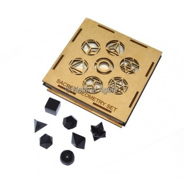 Black Agate Sacred Geometry Set With Square Gift Box