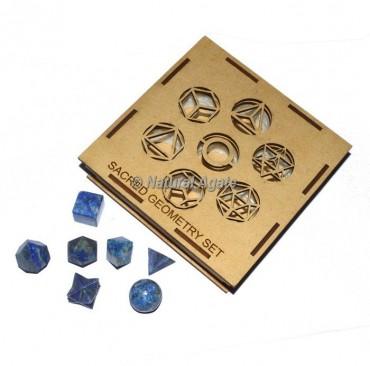 Lapis Lazuli Sacred Geometry Set With Square Gift Box