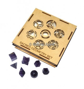 Amethyst Sacred Geometry Set With Square Gift Box