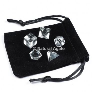 Crystal Quartz Sacred Geometry Set With Gift Pouch