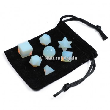 Opalite 7 Pcs Sacred Geometry Set With Gift Pouch