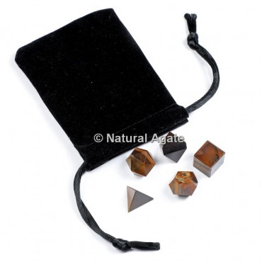 Tiger Eye Sacred Geometry Set With Gift Pouch