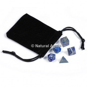 Lapis Lazuli Sacred Geometry Set With Gift Pouch