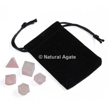 Rose Quartz Sacred Geometry Set With Gift Pouch