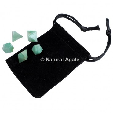 Green Aventurine Sacred Geometry Set With Gift Pouch