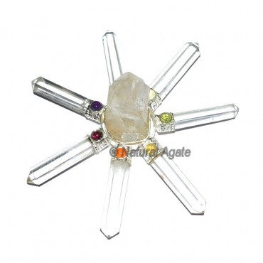 Crystal Quartz Natural Energy Generator with Chakr