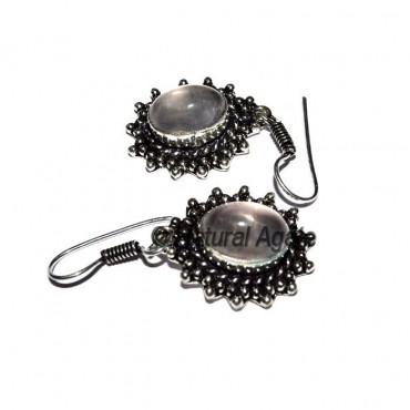 Rose Quartz Oval Earrings