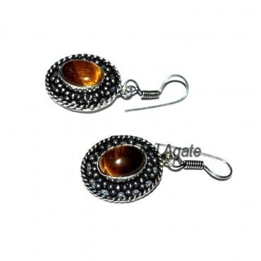 Tiger Eye Oval Cab Earrings