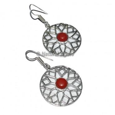 Red Jasper Round Earrings