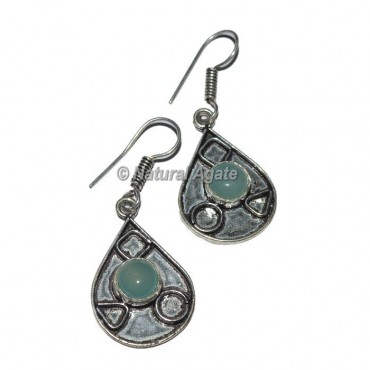 Blue Onyx Round Stone Earrings