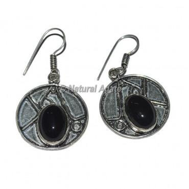 Black Stone Round Shape Earrings