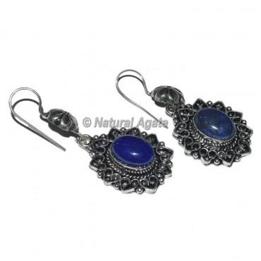 Oval Shape Lapis Lazuli Earrings