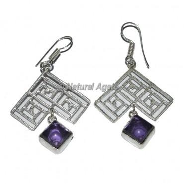 Amethyst Square Earrings