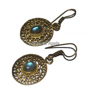 Blue Stone Golden Earrings