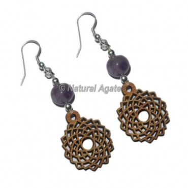 Amethyst Stone With Crown Chakra Earrings