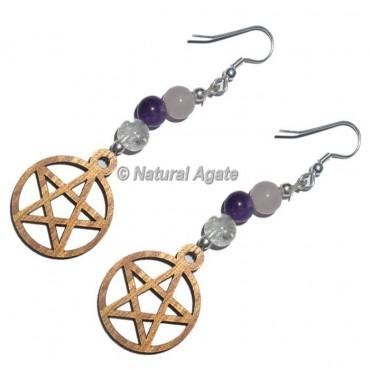 Pentagram Design Quartz Earrings