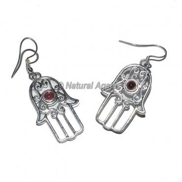 Hamsa Silver Earrings