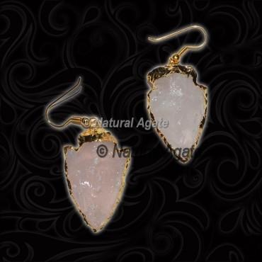 Rose Quartz Arrowhead Earrings