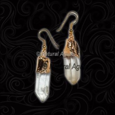 Crystal Quartz With Golden Carved Earrings