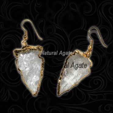 Crystal Quartz Arrowhead Earrings