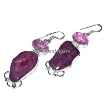 Red Agate Slices Earrings