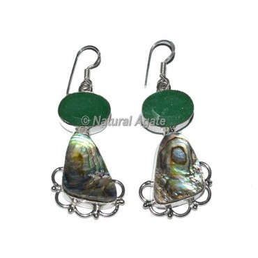 Shell With Green Agate Slice Earrings
