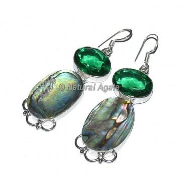 Green Agate Crystal Earrings
