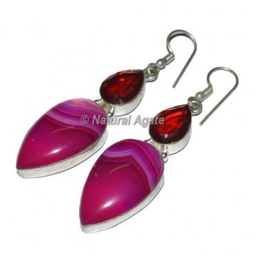 Pink Agate Slices Earrings