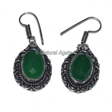 Oval Green Aventurine Earrings