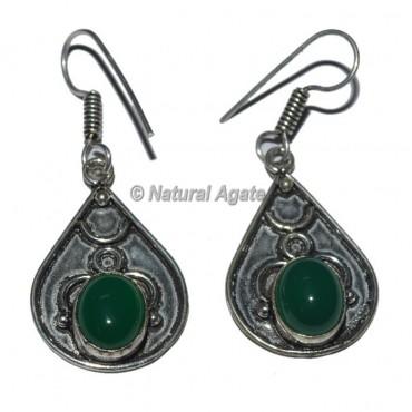 Green Onyx Round Stone Earrings